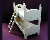 """Doll Bed American Girl Doll Stackable Bunk Bed with Ladder 18"""" Doll Furniture with Scalloped Sides Gift for Daughter Gift for Girl or Niece"""