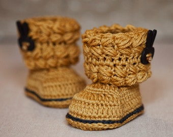 Crochet PATTERN for baby booties - Easy Cable Boots