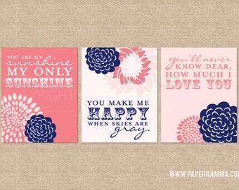 You are My Sunshine Nursery / Kids Room Giclée Art Prints, 3 Print Set, Custom match colors to your nursery/room // N-G03-3PS AA1