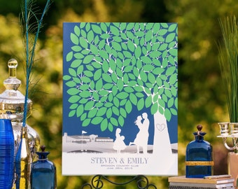 Signature Wedding Tree // Guestbook Print // with Personalized Skyline & Choice of Silhouette // 100+ Signatures // W-T05-1PS HH3