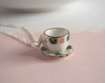 Tea Party Necklace, Miniature Tea Cup Pendant On Silver Chain, Classic Green And White