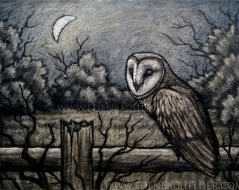 Barn Owl II signed and matted print from an original painting by Eden Bachelder