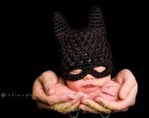 Batman hat, crochet batman hat, batman childrens hat,  costume batman hat, costume  batman
