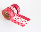 Red Washi Tape Choose 1 roll: swirls, red dots, white dots Christmas washi tape Japanese masking tape craft supply by PaisleyHandmade