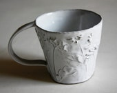 Rustic Chic Tin-glazed Ceramic Coffee / Hot Chocolate Mug with wild flower details (No.9)