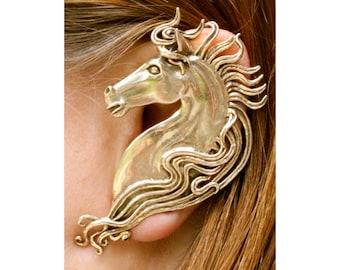 Horse Ear Wrap - Horse Ear Cuff - Horse Jewelry - Bronze Horse - Horse Earring Spirit Horse Ear Wrap Animal Jewelry Large Ear Wrap Fashion