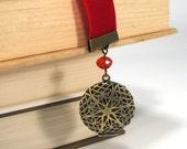 Bookmark Red Velvet Ribbon Handmake Keepsake Locket Gift for the Book Lover