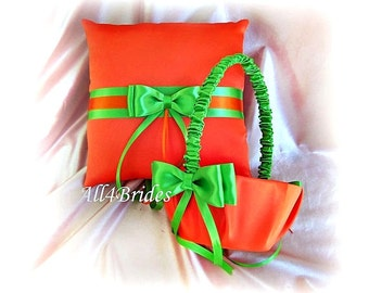 Orange and green wedding ring bearer pillow and flower girl basket. Wedding decorations basket and pillow set