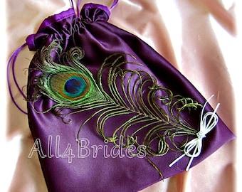 Peacock weddings eggplant purple bridal drawstring bag, wedding dollar dance bag.