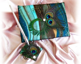 Peacock feathers wedding guest book and pen set, teal, turquoise, brown