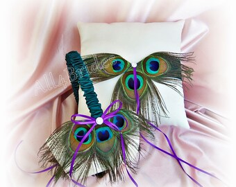 Peacock weddings ring pillow and basket - teal and purple peacock weddings - peacock feather ring pillow and flower girl basket