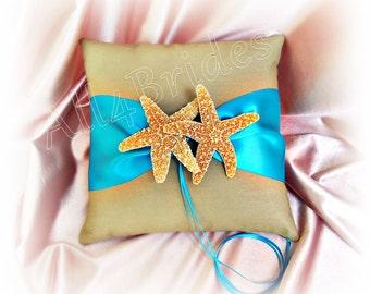 Turquoise and Tan beach wedding starfish ring pillow, Sugar starfish ring bearer pillow