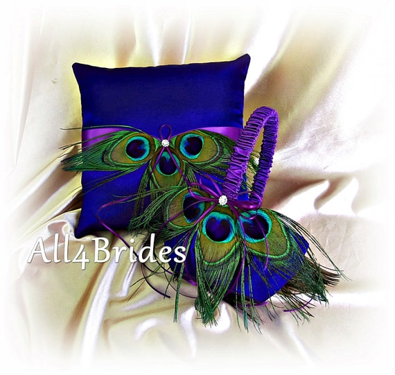 Flower Girl Baskets Peacock : Items similar to wedding peacock feather ring pillow and