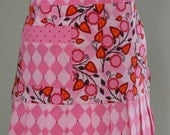 ON SALE Pleated Hostess Apron - Pink Andalucia - Great for Valentine's Day, Spring and Summer, Hearts, Diamonds, Flowers - PunkiePies