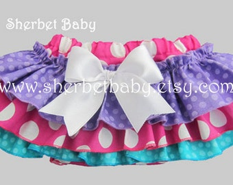 Sassy Pants Ruffled Diaper Cover Bloomer Purple Fuchsia Hot Pink BluePolka Purple Dots