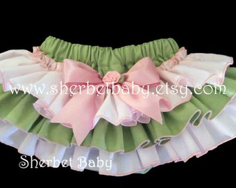 Pink and Green Sassy Pants Ruffle Diaper Cover Bloomer