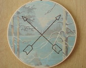 Embroidered Arrows on Forest Paint by Number Fabric Hoop