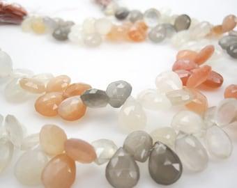 Rainbow Moonstone Beads, Peach Moonstone Bead, Pear Shape, Multi Color Moonstone, Gray Moonstone, White Moonstone, SKU 3536