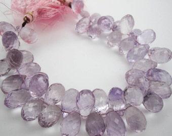 Pink Amethyst Briolettes Beads, Faceted Teardrops Briolettes, SKU 3635