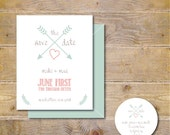 Wedding Save The Dates . Save The Dates . Rustic Save The Date Cards  - Heart & Arrow
