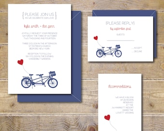 Bicycle Wedding Invitations . Tandem Bicycle Wedding Invites . Bike Wedding Invitations .  Bicycle Wedding Invitations - Little Red Balloon