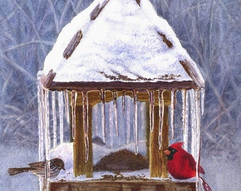 Cardinal Art Watercolor Painting Print by Cathy Hillegas, 11x14, bird, cardinal painting, cardinal watercolor, icicles, red, blue, brown