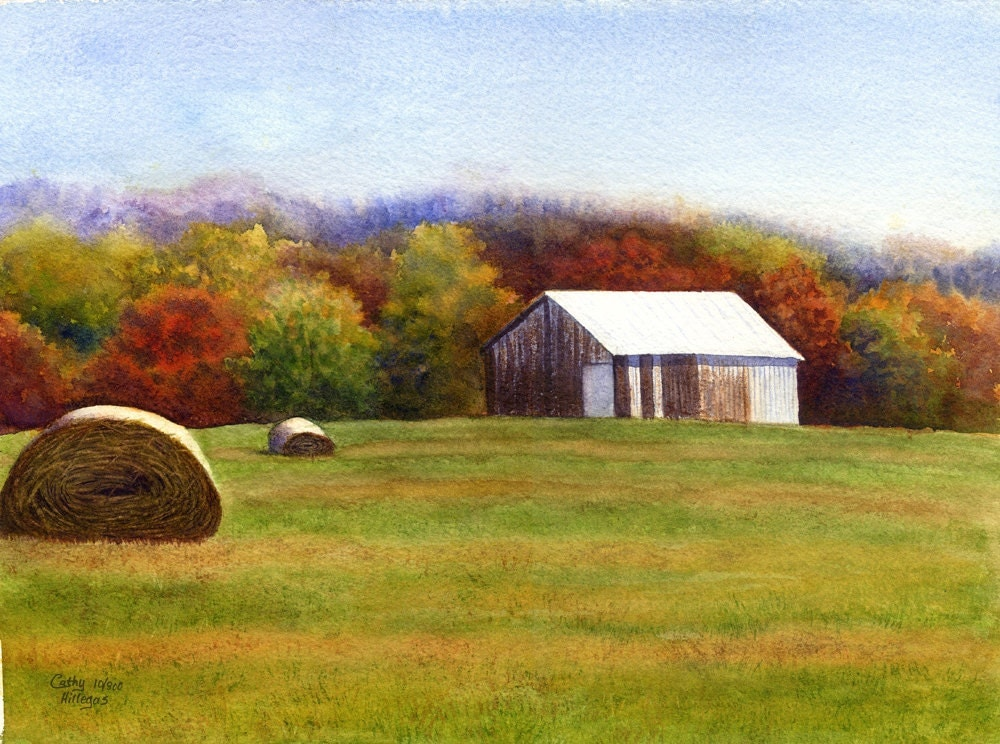 Barn art watercolor landscape painting print by cathy for Watercolor barn paintings