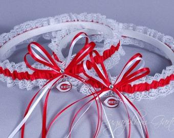 Cincinnati Reds Lace Wedding Garter Set