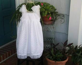 Handmade Lace Trimed Flower Girl Dress    One of a kind    Bodice 24 1/2  length 25 1/2