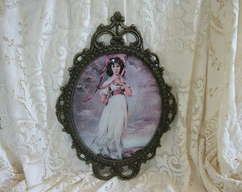 Large Vintage Oval Picture Pinkie, Lady in Long Dress Vintage Picture in Antique Gold Tarnished Shabby Ornate Metal Frame Convex Glass