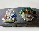 2 Stocknagel Walking Stick Medallions German Castle Melspelbrunn Austria Kufstein
