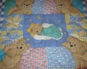 Handmade Baby Bears Patchwork Reversible Cotton Baby/Toddler Quilt-NEWLY MADE 2016