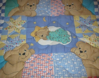 Handmade Baby Bears Patchwork Reversible Cotton Baby/Toddler Quilt-NEWLY MADE 2017