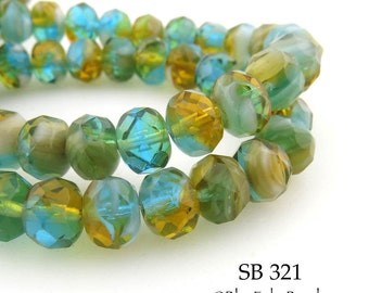 8mm Czech Glass Rondelle Beads, Meadow Sunrise (SB 321) 12 pcs BlueEchoBeads