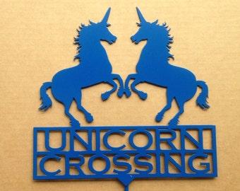 Unicorn Crossing Garden Stake Metal Art  (Z1)