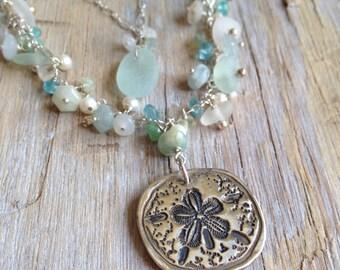 Fine Silver Sand Dollar Pendant Semi Precious Stones Aqua Sea Glass
