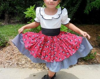 Handmade Pirate Girl's Costume / Dress Up / Size 2 thru 8 /Halloween / Pageant / Birthday