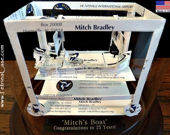 Bass Boat Business Card Sculpture Item 1180 -Made in USA