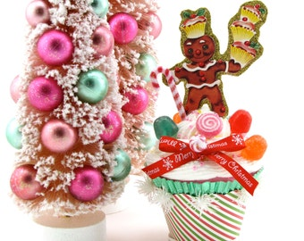 Gingerbread Man w/ Cupcakes, Candy Canes & Gumdrops Fake Cupcake Retro Image of Gingerbread Man Can Be Made Into Ornament Candyland Decor