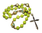 Lime Jade Anglican Rosary Prayer Beads Handmade Polymer Clay Focal Beads Protestant Everything Else Christian Religious Gift