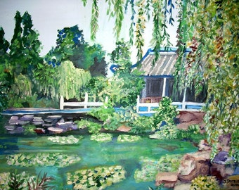 "Suzhou Garden by Teresa Dominici - Original Impressionist - 16""x20"" - Acrylic on canvas"