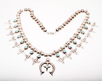 Old Pawn Navajo Turquoise Necklace - Fleur de Lis Sterling Squash - 50s/60s Tufa Cast - 162 grams