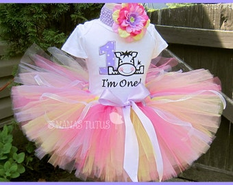 Birthday Zebra with Number, Party Outfit, Tutu Set, Theme Party, Personalized, Birthday Tutu Set in Sizes 1yr thru 5yrs