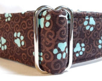Puppy Paws and Curly Cues Brown and Turquoise Greyhound, Whippet, Galgo, Dog, Martingale Collar