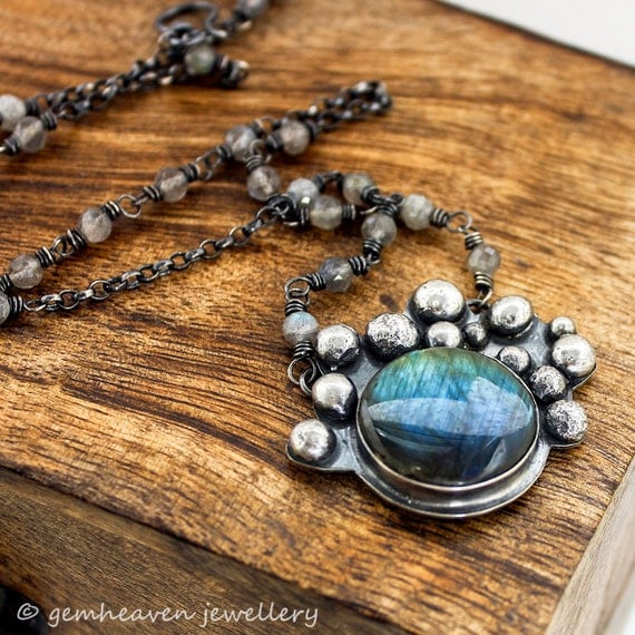 xX ON SALE Xx Sterling silver and Labradorite necklace with hallmark - Causeway Series -