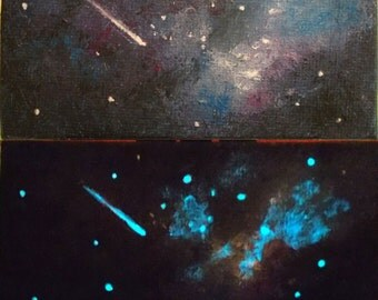 Night sky miniature painting with glow in the dark stars. Cosmos and shooting star, star nursery. Small tabletop art with easel