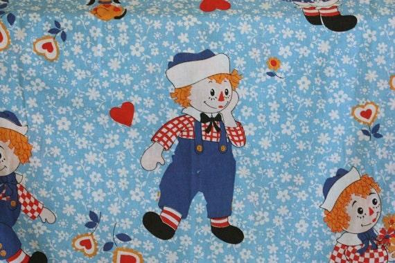 Vintage Raggedy Ann Andy Curtain Pinch Pleat Drapes Children Pair Blue Doll Butterflies Heart