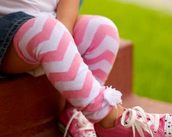 CANDY Pink CHEVRON Embellished BABY Girl Leg Warmers Newborn to Toddler