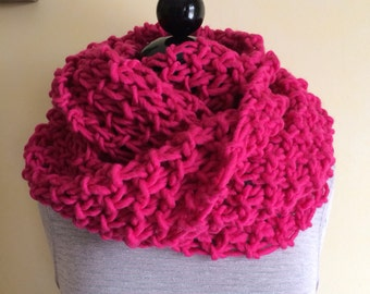 Chunky Pink Scarf- Pink Wool - Infinity Scarf - Huge Scarf - Chunky Scarf - Pink Scarf - Figure 8 Scarf - Pink
