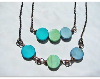 Shades of the Sea Funky Wooden Necklace